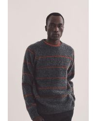 YMC Everyman Stripe Crew Sweater - Gray