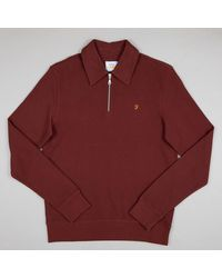 Farah Spon Quarter Zip Sweatshirt In Burgundy Red