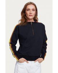 Maison Scotch Long Sleeve Half Zip Crew Neck Sweatshirt In Navy - Blue