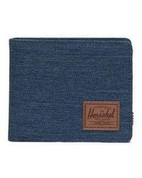 Herschel Supply Co. Portefeuille Cartera Roy Coin Indigo Denim Crosshatch Saddle Brown - Bleu