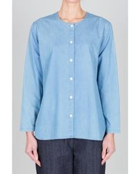 Folk Collarless Shirt Japanese Fabric Bleache Denim Last Piece - Blue