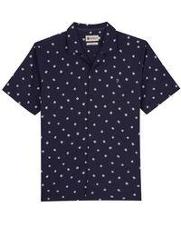 Farah Keene Printed S S Shirt Navy - Blue