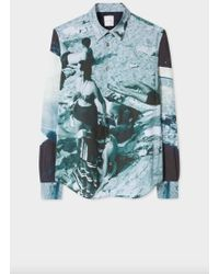 Paul Smith Slim Fit Blue 'Paul's Photo' Baumwollhemd mit schmaler Passform - Blau