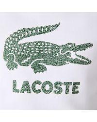 Lacoste Crew Neck Crackled Print Logo Fleece Sweatshirt White - Blanco