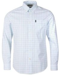 Barbour Chemise Tattersall 16 Tailored Bleu Clair