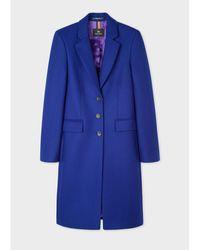 Paul Smith Indigo Wool Mix Three Button Epsom Coat - Blue
