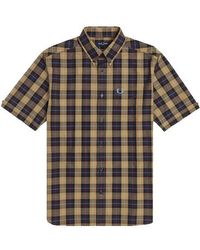 Fred Perry Authentic Button Down Short Sleeve Check Shirt Navy - Azul