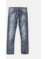 Nudie Jeans Grim Tim Jeans desgastados en roto - Azul