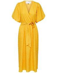 SELECTED Robe portefeuille midi Flissy 2 4 - Jaune