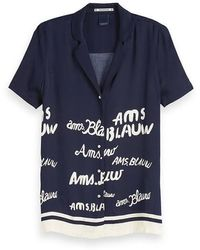 Maison Scotch Navy Viscose Print Shirt - Blue
