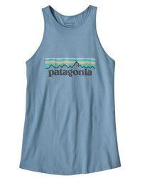 Patagonia Womens Pastel P 6 Logo Organic High Neck Tank Top Berlin Blue