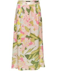 SELECTED Pink Floral Smooth Slfmola Skirt - Multicolour