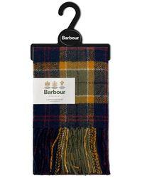 Barbour Tartan Lambswool Scarf Green Navy Red - Blue