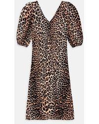 Ganni Puff Slv Kleid Leopard - Schwarz