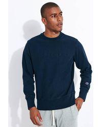 Champion Embossed Script Logo Reverse Weave Sweatshirt Navy - Blue