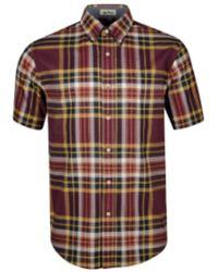 Pendleton Https://www.trouva.com/it/products/-seaside-button-down-short-sleeve-shirt-plum-navy-gold-plaid - Multicolore