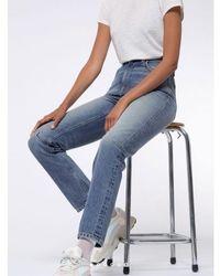 Nudie Jeans Mid Blue Shade Breezy Britt Worn Stone Jeans - Blau