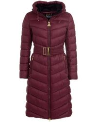 Barbour Lineout Quilt Coat In Merlot - Red