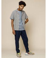 Folk Folk Soft Collar Shirt In Windowpane Check - Blue
