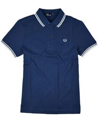 Fred Perry Chemise Femme Twin Tipped Carbon Blue & White - Bleu