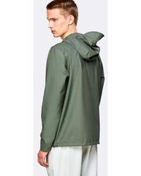 Rains Olive Short Hooded Coat - Green