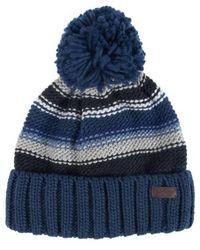 Barbour Harrow Stripe Beanie Mütze Grau Blau