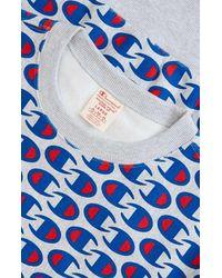 Champion Reverse Weave Allover C Logo Print Sweatshirt Grey Marl - Blue