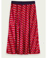 Scotch & Soda Falda midi plisada estampada roja - Rojo