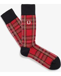 Fred Perry Royal Stewart Tartan Socks - Red