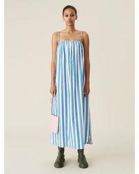 Ganni Robe mi-longue tente en coton bio Daphne - Bleu
