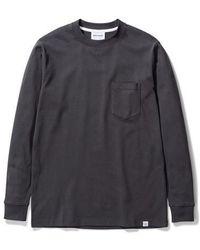 Norse Projects T Shirt Johannes manica lunga tasca grigio ardesia