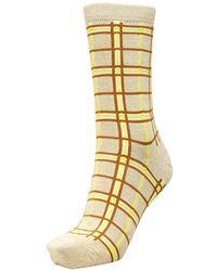 SELECTED Yellow/tan Checked Glitter 'vida' Ankle Socks - Metallic
