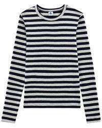 Petit Bateau Womens Striped Long Sleeve Top - Blue