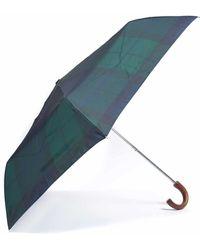 Barbour Tartan Mini Umbrella Navy - Blau
