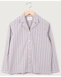 Folk L S Pyjamastreifen mit weichem Kragen - Mehrfarbig