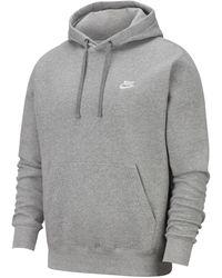 Nike Grey Mens Club Fleece Hoodie