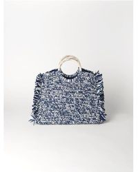 Becksöndergaard Mix Falka Straw Bag In Blue - Bleu