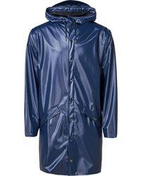 Rains Long Jacket Shiny Blue