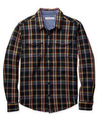 Outerknown Decke Hemd True Black Rainbow Plaid - Schwarz