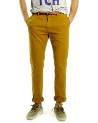 Scotch & Soda Pantalón chino camel teñido prenda de vestir de algodón - Amarillo