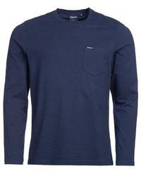 Barbour L S Pocket T Shirt Navy - Blue