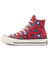 Converse Zapatos deportivos de caña alta Chuck 70 con estampado cultural rojo habanero y azul intenso