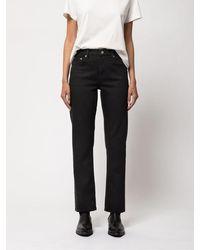 Nudie Jeans Jeans dritti blu Delave in cotone biologico Straight Sally Ever Black - Nero