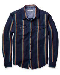 Outerknown Decke Shirt Marine Rainbow Streifen - Blau