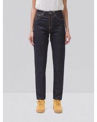 Nudie Jeans Breezy Britt Rinsed Original Raw Cotton High Waist Straight Jeans - Multicolour
