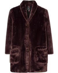 Paul Smith Faux Fur Shawl Collar Coat Brown
