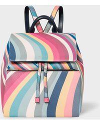 Paul Smith Sac à dos en cuir à imprimé tourbillon printanier - Multicolore
