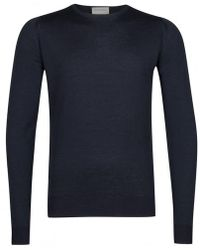 John Smedley Midnight Crew Neck Long Sleeve Lundy Pullover - Black