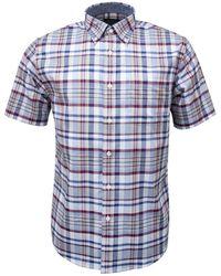 Pendleton Camisa Seaside Button Down Ss Tartán Azul Rojo