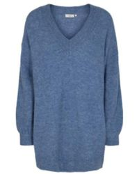 Minimum Knit V Neck Necka Fashion Jumper - Blue